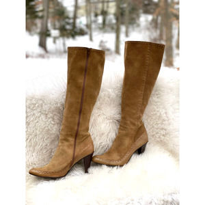 Delman Tan Suede Tall Stretch Boots-Size 9